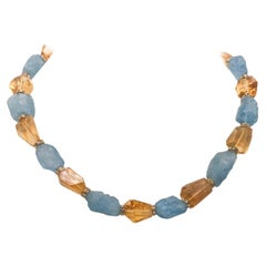 A.Jeschel Brilliant blue hammered aquamarine  and faceted citrine