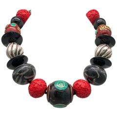 A.Jeschel Dramatic Tibetan Beads Cinnabar, and Onyx Necklace