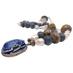 A.Jeschel Egyptian vintage ceramic scarab, Amber and baroque Pearl necklace.