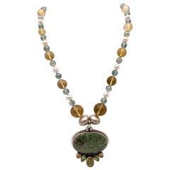 A.Jeschel Fine Freswater Pearl, Quartz Necklace with Precious Jasper Pendant