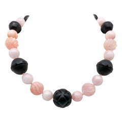 A.Jeschel Fine Morganite ,Opal and Onyx Necklace