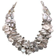 A.Jeschel Glorious 2 Strand Coin Baroque Pearl Necklace