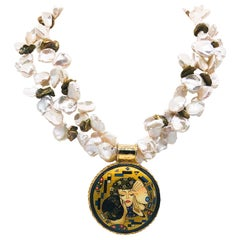 A.Jeschel Gold and Keshi Pearl Necklace with Art Deco Russian Pendant.