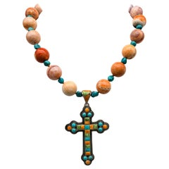 A.Jeschel  Inlaid Mexican fire Opal and Turquoise heavy Sterling Silver cross