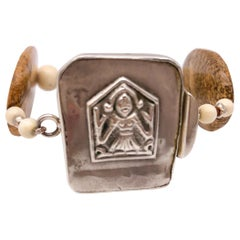 A.Jeschel  Jasper, carved bone, vintage silver Buddha bracelet.