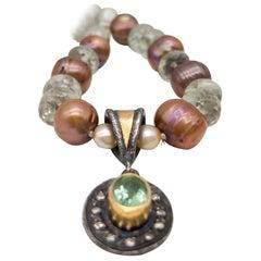 A.Jeschel Lovely Diamond and green Amethyst pendant necklace.
