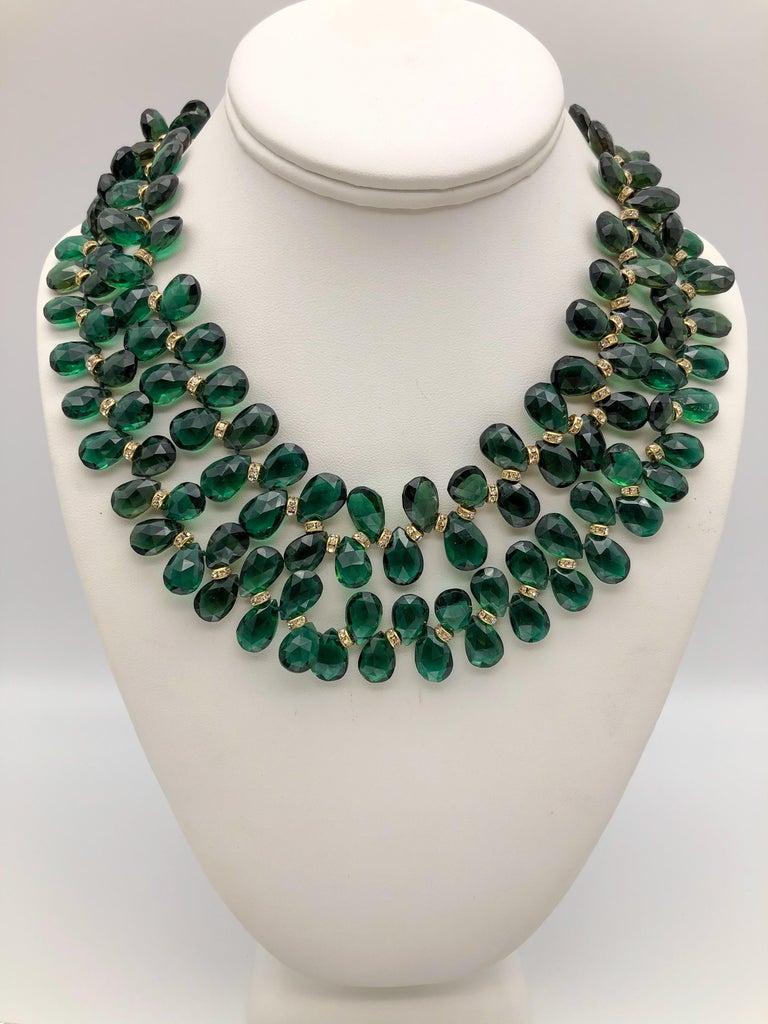 A.Jeschel Majestic Green Quartz with Emeralds necklace For Sale 4