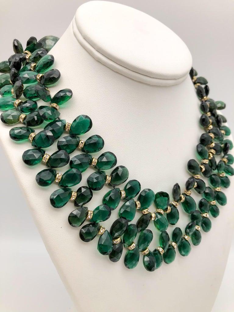 A.Jeschel Majestic Green Quartz with Emeralds necklace For Sale 5