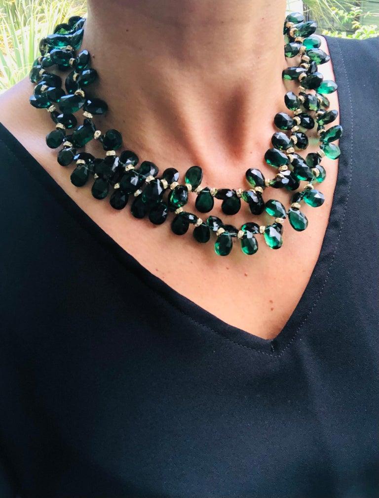 A.Jeschel Majestic Green Quartz with Emeralds necklace For Sale 6