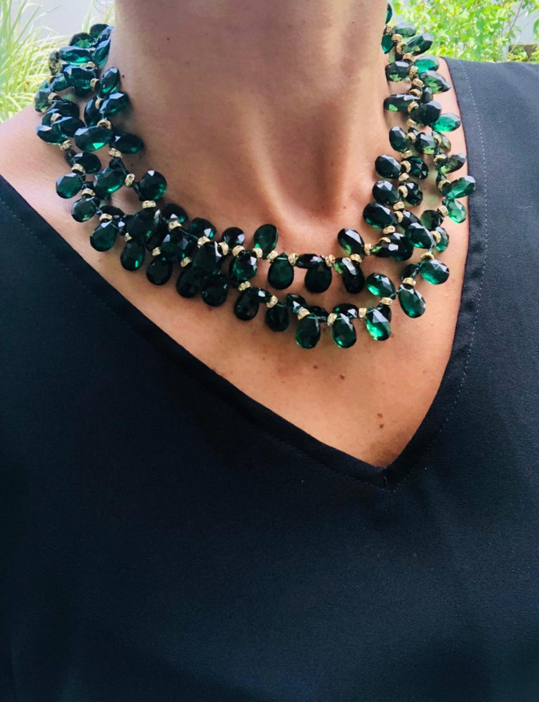Contemporary A.Jeschel Majestic Green Quartz with Emeralds necklace For Sale