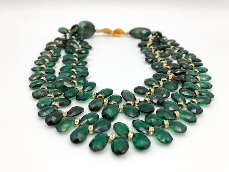 Emerald Cut A.Jeschel Majestic Green Quartz with Emeralds necklace For Sale
