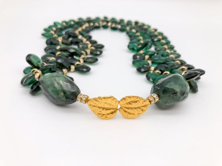 A.Jeschel Majestic Green Quartz with Emeralds necklace In New Condition For Sale In Miami, FL
