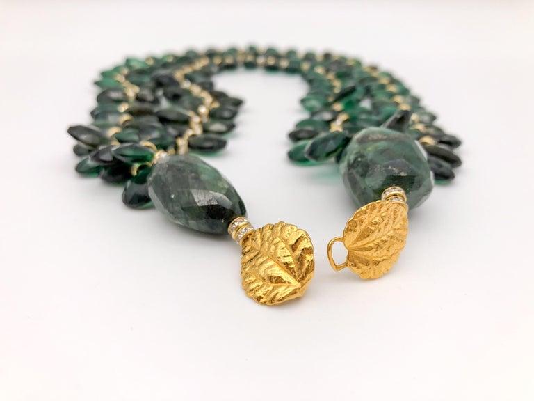 Women's A.Jeschel Majestic Green Quartz with Emeralds necklace For Sale