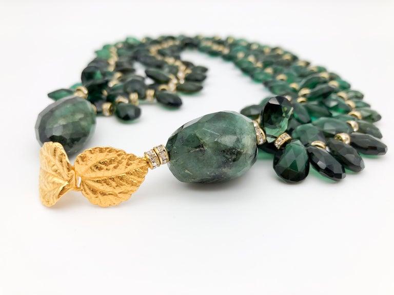 A.Jeschel Majestic Green Quartz with Emeralds necklace For Sale 1