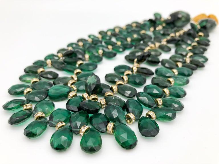A.Jeschel Majestic Green Quartz with Emeralds necklace For Sale 2
