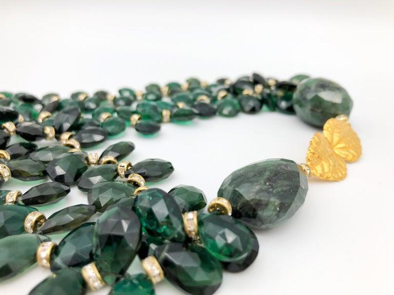 A.Jeschel Majestic Green Quartz with Emeralds necklace For Sale 3