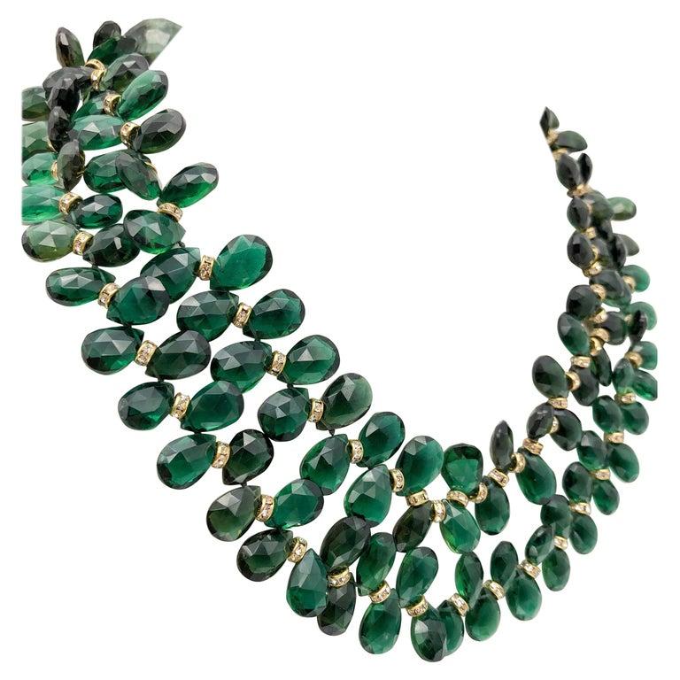 A.Jeschel Majestic Green Quartz with Emeralds necklace For Sale