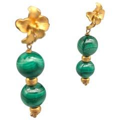 A.Jeschel  Malachite and vermeil earrings