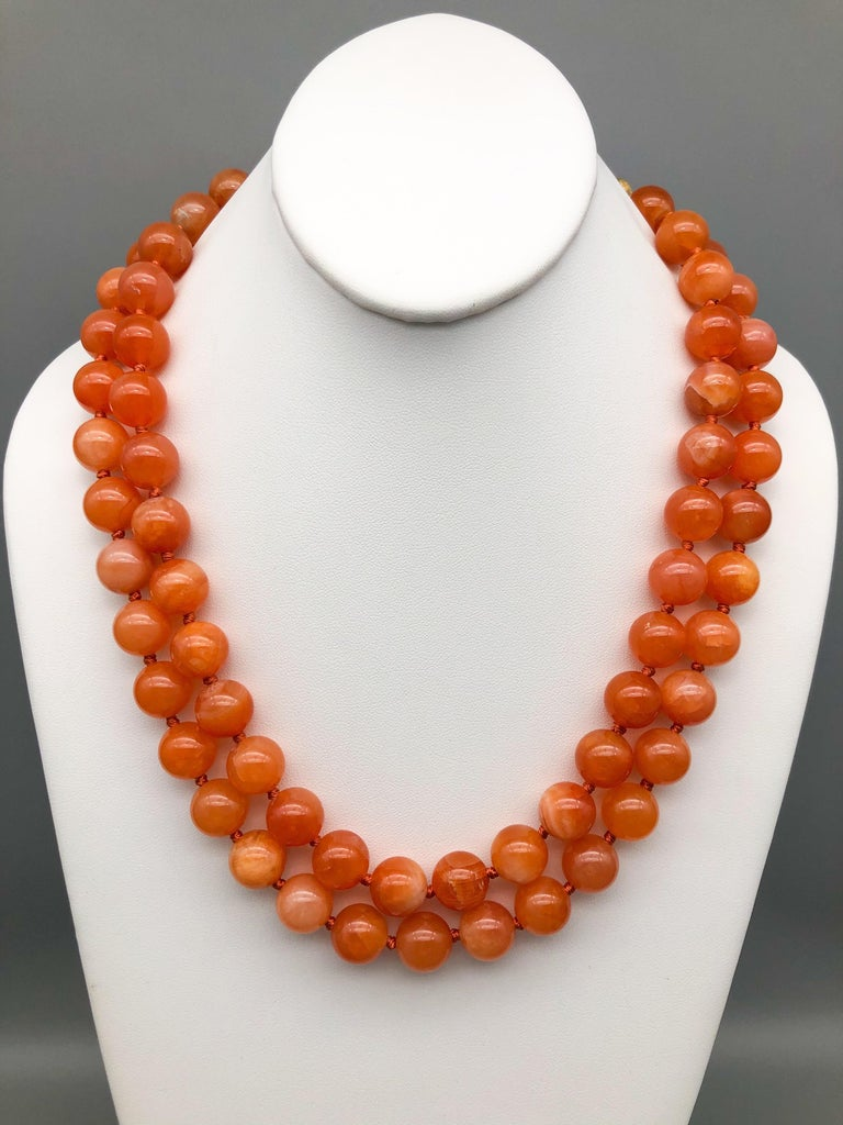 Contemporary A.Jeschel Natural orange Chalcedony, soft and flattering. For Sale