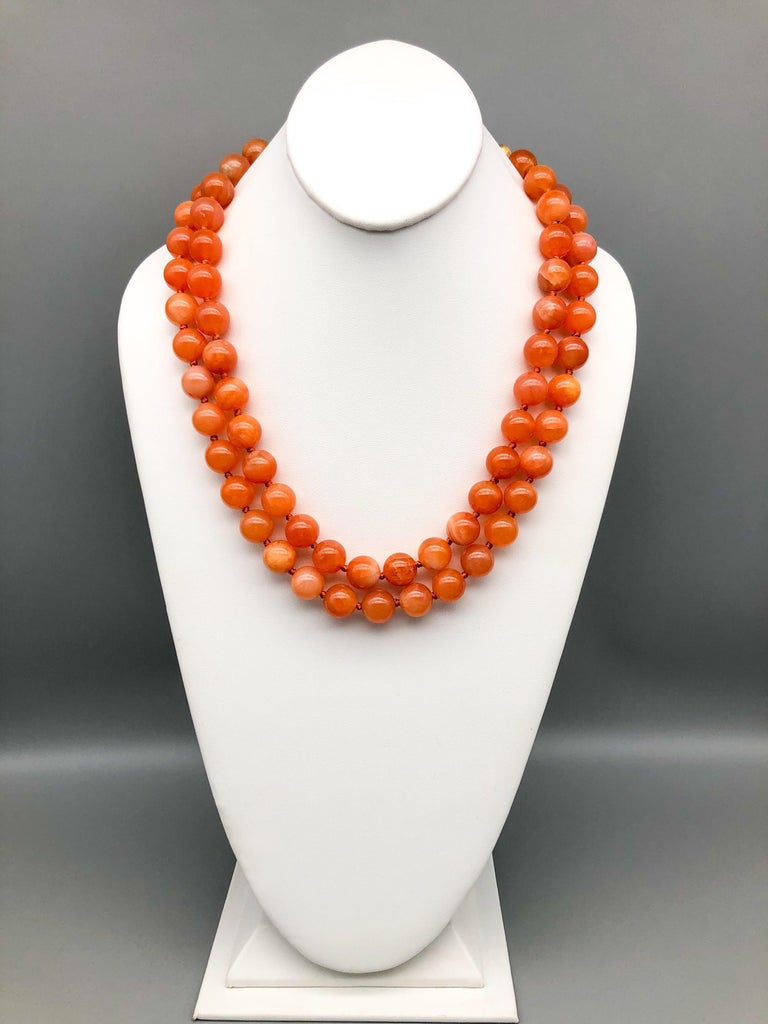 Bead A.Jeschel Natural orange Chalcedony, soft and flattering. For Sale