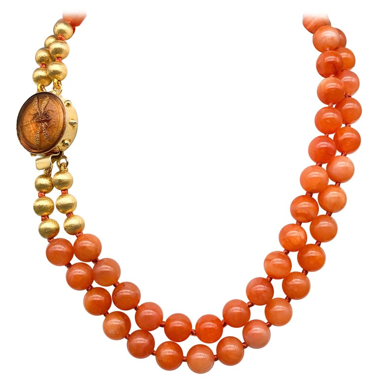 A.Jeschel Natural orange Chalcedony, soft and flattering. For Sale