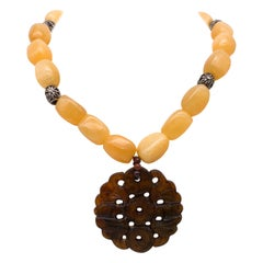 A.Jeschel Natural Yellow Jade necklace with Tobacco Jade carved pendant