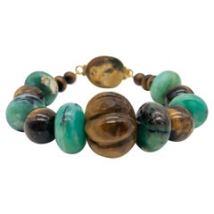 A.Jeschel Peruvian Opal-and Tiger's eye bracelet.