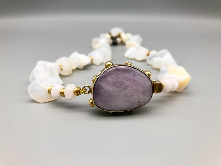 A.Jeschel Powerful White Opal Necklace and Pendant For Sale 4