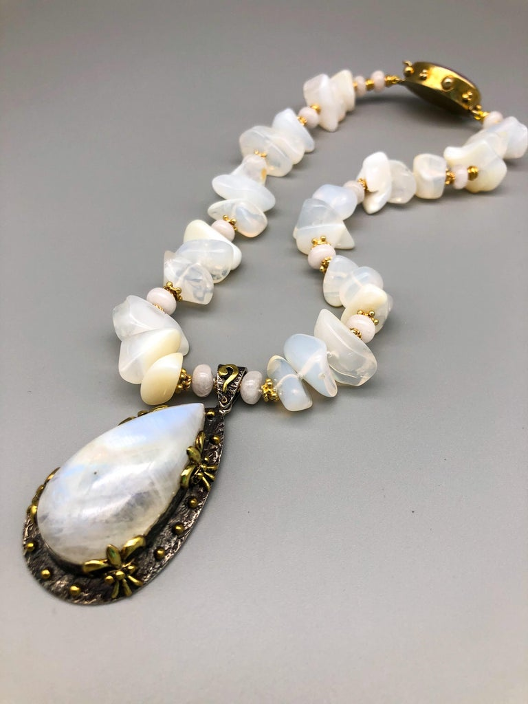 A.Jeschel Powerful White Opal Necklace and Pendant In New Condition For Sale In Miami, FL