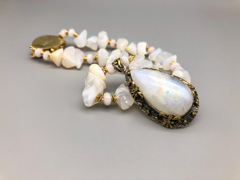 A.Jeschel Powerful White Opal Necklace and Pendant For Sale 1