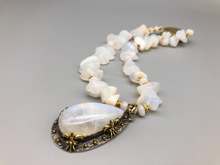 A.Jeschel Powerful White Opal Necklace and Pendant For Sale 2