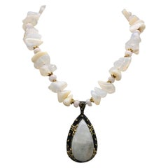 A.Jeschel Powerful White Opal Necklace and Pendant