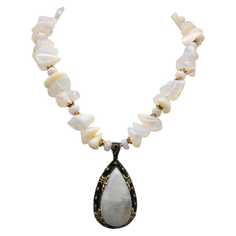 A.Jeschel Powerful White Opal Necklace and Pendant For Sale