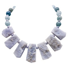 A.Jeschel Rough Cut Aquamarine and freshawater Pearl Necklace.