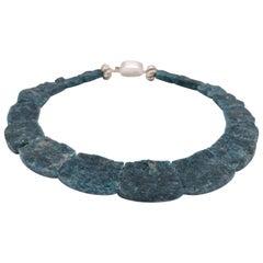 A.Jeschel Rough cut blue and green Apatite necklace.