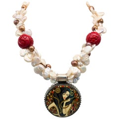 A.Jeschel Russian miniature pendant painted in the style of Klimt