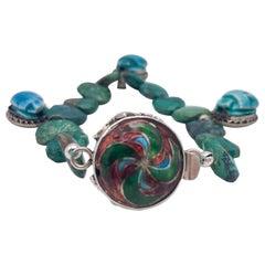 A.Jeschel Scarab and Chrysocolla  bracelet