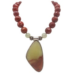 A.Jeschel Show-stopping pale green onyx shaded to deep rust necklace.