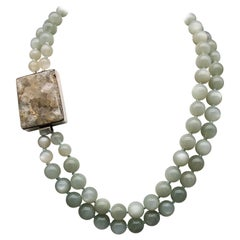 A.Jeschel Soft gray Moonstone double-strand with a dramatic Druzy clasp.