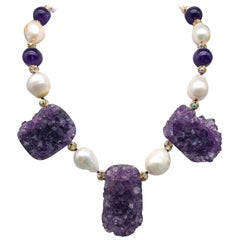 A.Jeschel Spectacular Amethyst Geodes and Baroque Pearl Necklace