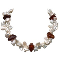 A.Jeschel Splendid 2 strand Keshi Pearls and Amber Necklace