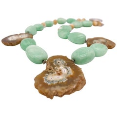 A.Jeschel  Unusual green Amazonite and stalactite geode single strand necklace