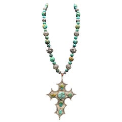 A.Jeschel Vintage Sterling Silver Cross inlaid with Turquoise.