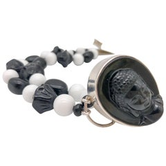 A.Jeschel  White Agate and Onyx double strand bracelet.