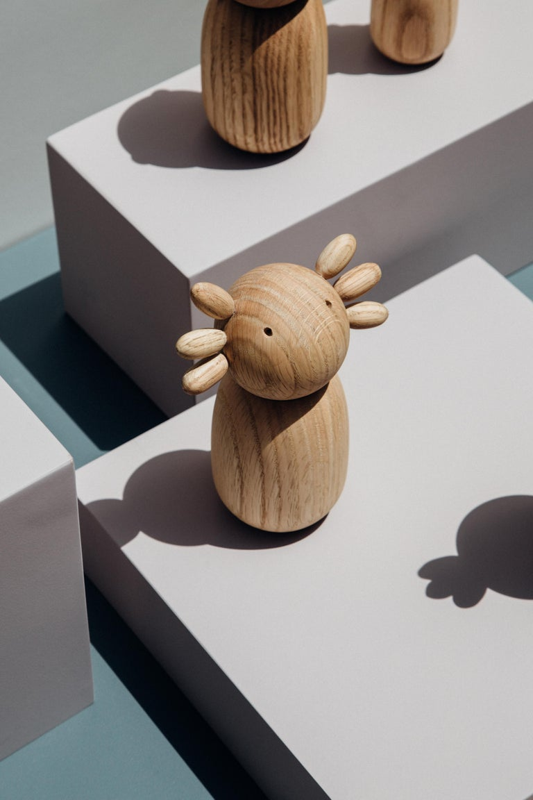 Scandinavian Modern Ajolote in white oak matte finish made in Colombia, Fauna Series For Sale