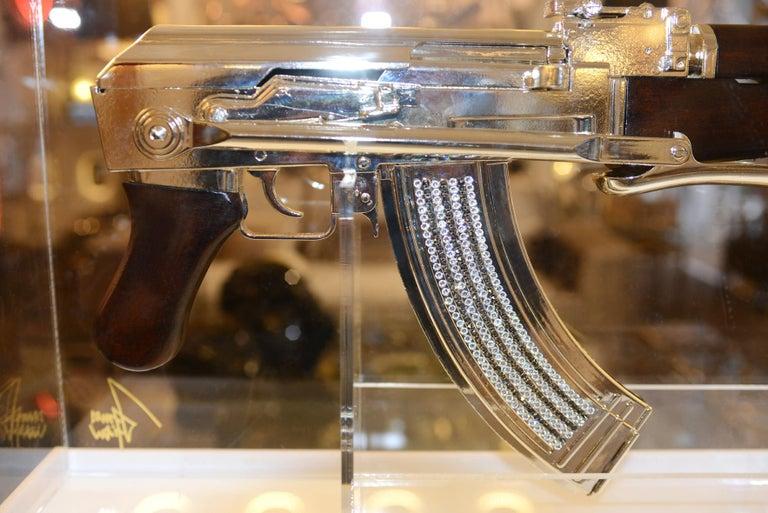 Contemporary AK-47 in Silver Finish Art Sculpture Demilitarized For Sale