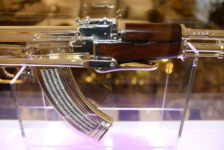Silver Plate AK-47 in Silver Finish Art Sculpture Demilitarized For Sale