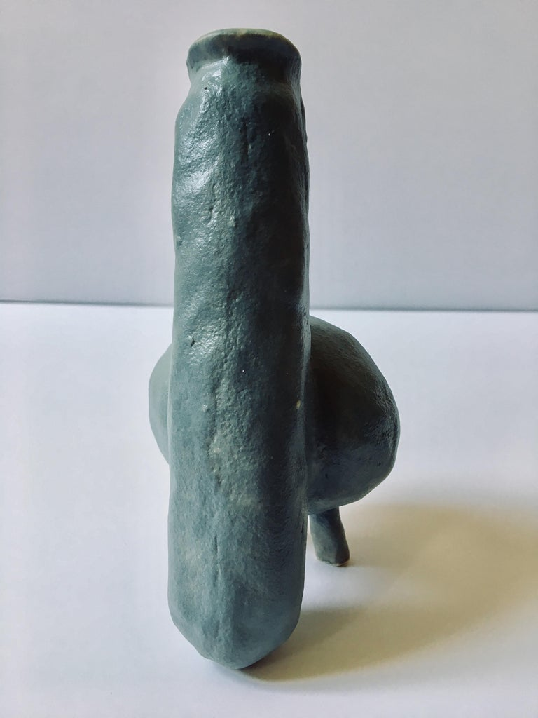 Abstract  Ceramic Vessel Sculpture: 'Creature Small No 4' - Gray Abstract Sculpture by Ak Jansen