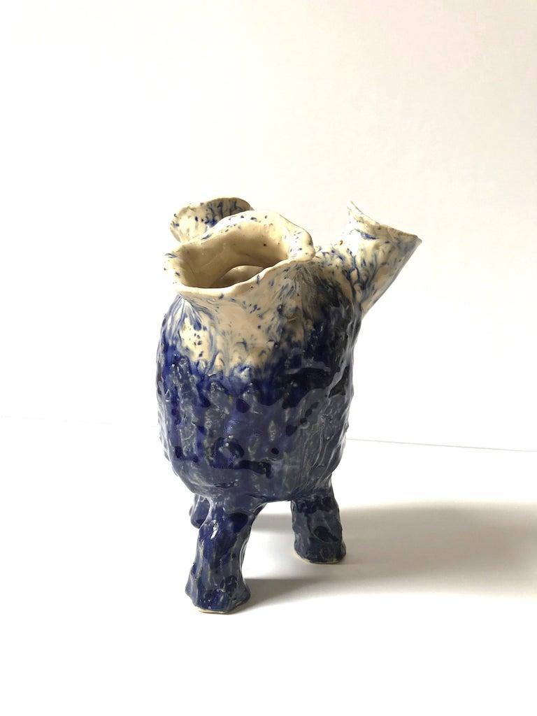 Abstract  Ceramic Vessel Sculpture: 'Creature Medium 12' - Gray Abstract Sculpture by Ak Jansen