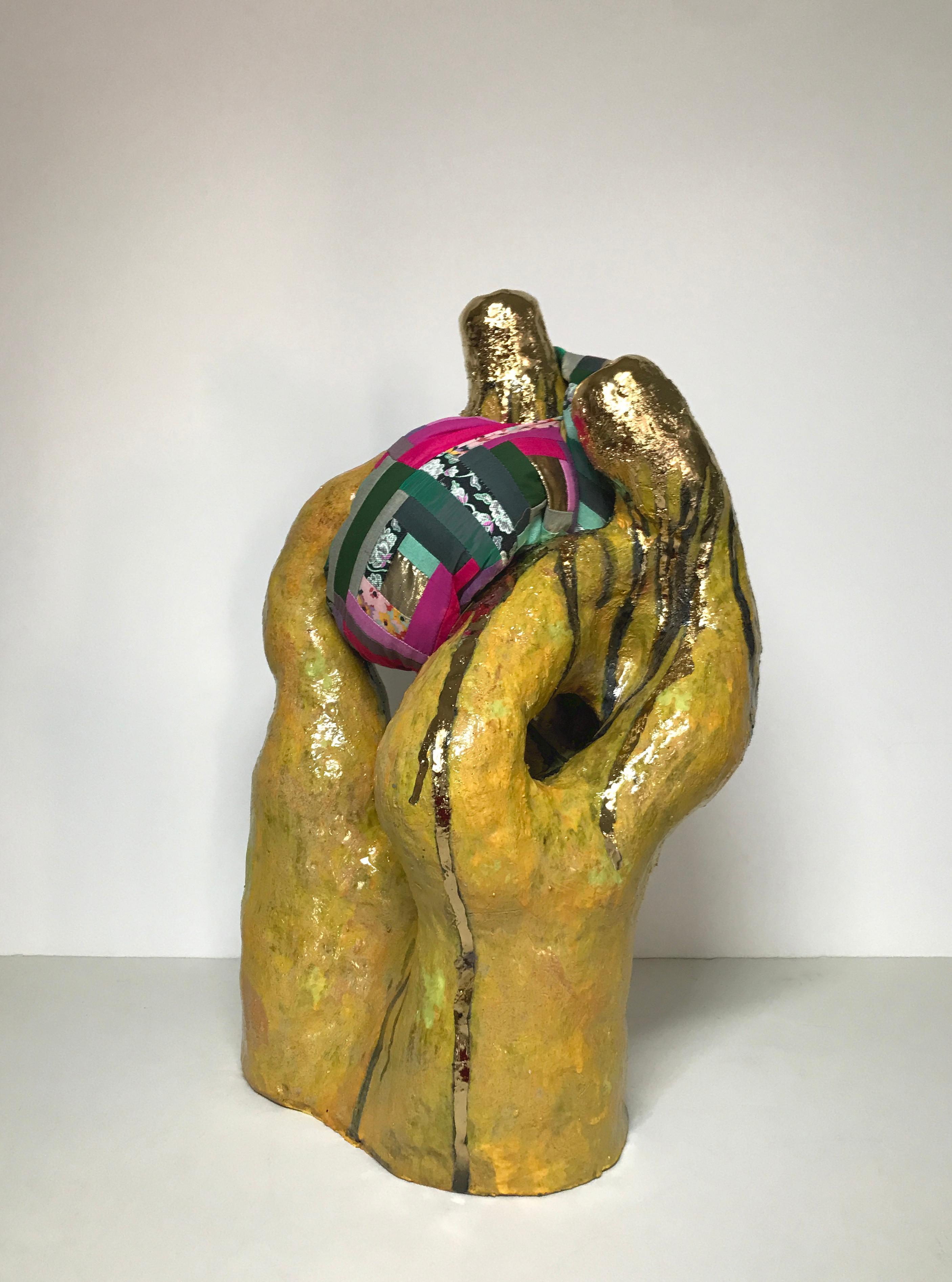 Ceramic and textile sculpture: 'No. 5'